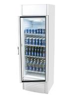 Getränkekühlschrank mit Glastür in silber/weiß