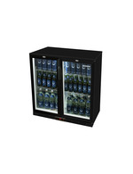 Schwarzer Getränkekühlschrank für den Unterthekenbereich