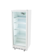 White commercial refrigerator with glass door