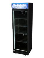 Schwarzer Getränkekühlschrank mit Glastür