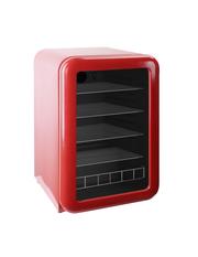 roter Retro Glastürkühlschrank