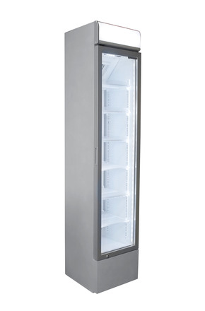 Schmaler Glastürkühlschrank in silber